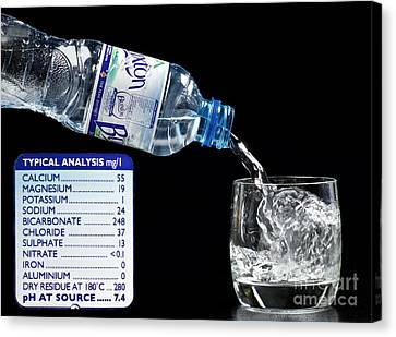 Mineral Water And Its Mineral Content Canvas Print by Martyn F. Chillmaid