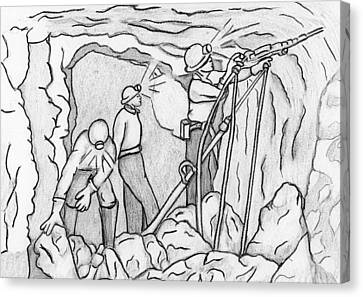 Miners At Work Canvas Print