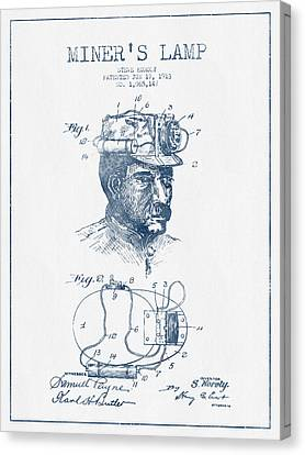 Miners Lamp Patent Drawing From 1913- Blue Ink Canvas Print by Aged Pixel