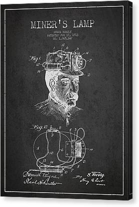Miners Lamp Patent Drawing From 1913 - Dark Canvas Print