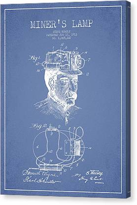Miners Lamp Patent Drawing From 1913 - Light Blue Canvas Print