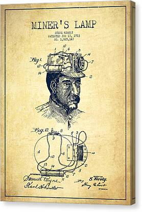 Miners Lamp Patent Drawing From 1913 - Vintage Canvas Print by Aged Pixel