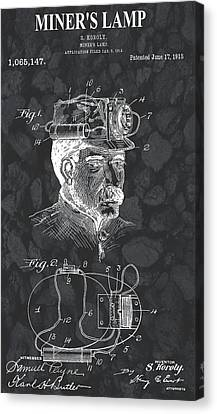 Workings Canvas Print - Miner's Lamp Patent On Coal by Dan Sproul