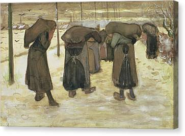 Miners Wives Carrying Sacks Of Coal Canvas Print by Vincent van Gogh