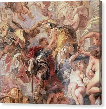 Minerva And Mercury Conduct The Duke Of Buckingham Canvas Print by Rubens