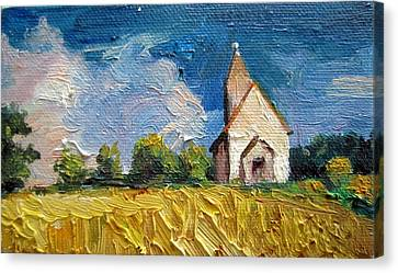 Canvas Print featuring the painting Mini Church by Jieming Wang
