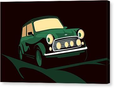 Mini Cooper Green Canvas Print by Michael Tompsett