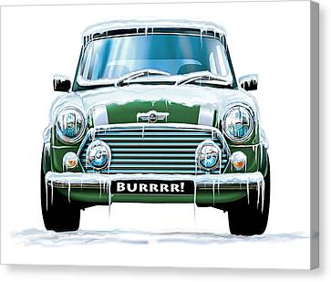 Mini Cooper On Ice Canvas Print by David Kyte