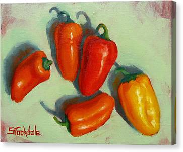 Canvas Print featuring the painting Mini Peppers Study 1 by Margaret Stockdale