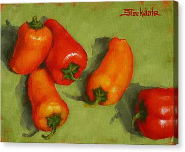 Canvas Print featuring the painting Mini Peppers Study 2 by Margaret Stockdale