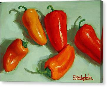 Mini Peppers Study 3 Canvas Print by Margaret Stockdale