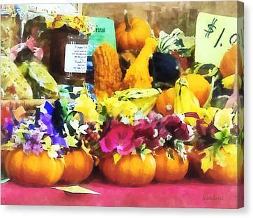 Squash Canvas Print - Mini Pumpkins And Gourds At Farmer's Market by Susan Savad