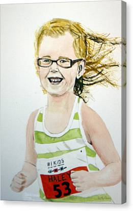 Mini Tri Athlete Canvas Print by Betty-Anne McDonald