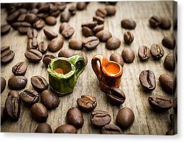 Miniature Coffee Cups Canvas Print by Aged Pixel