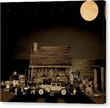Miniature Log Cabin Scene With Old Vintage Classic 1930 Packard Labaron In Sepia Color Canvas Print by Leslie Crotty