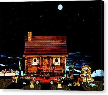 Miniature Log Cabin Scene With The Classic 1958 Ferrari 250 Testa Rossa In Color Canvas Print by Leslie Crotty
