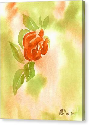 Canvas Print featuring the painting Miniature Red Rose II by Kip DeVore