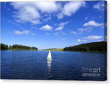Toy Boat Canvas Print - Miniature Sailboat In The Middle Of A Lake by Bernard Jaubert