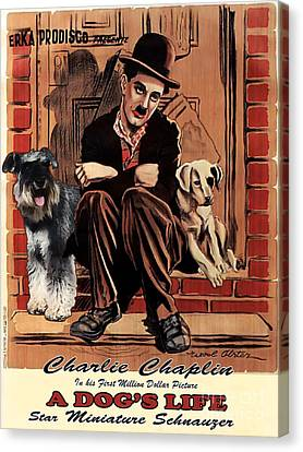 Miniature Schnauzer Art Canvas Print - A Dogs Life Movie Poster Canvas Print by Sandra Sij