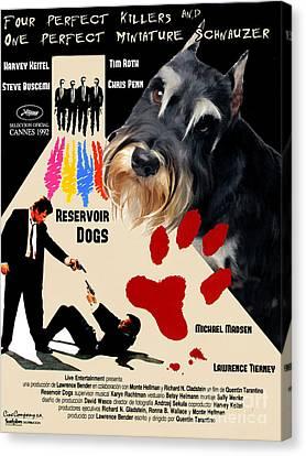Miniature Schnauzer Art Canvas Print - Reservoir Dogs Movie Poster Canvas Print by Sandra Sij