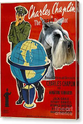 Miniature Schnauzer Art Canvas Print - The Great Dictator Movie Poster Canvas Print by Sandra Sij