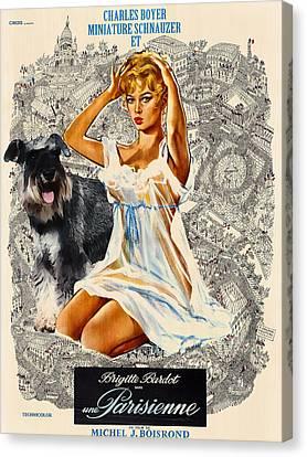 Miniature Schnauzer Art Canvas Print - Una Parisienne Movie Poster Canvas Print by Sandra Sij