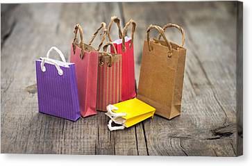 Miniature Shopping Bags Canvas Print by Aged Pixel