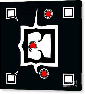 Minimalism Abstract Geometric Black White Red Art No.390. Canvas Print by Drinka Mercep