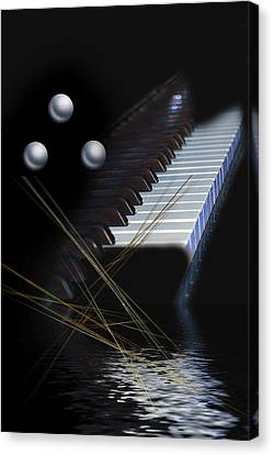 Canvas Print featuring the digital art Minimalism Piano by Angel Jesus De la Fuente