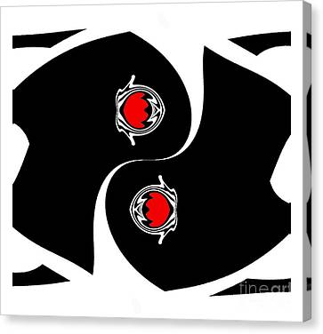 Minimalist Art Black White Red Geometric Abstract Print No.139. Canvas Print by Drinka Mercep