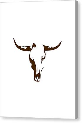Minimalist Bull Skull Poster Canvas Print by Celestial Images