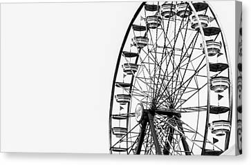 Black And White Canvas Print - Minimalist Ferris Wheel by Jon Woodhams
