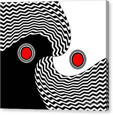 Minimalist Op Art Black White Red No.216 Canvas Print by Drinka Mercep