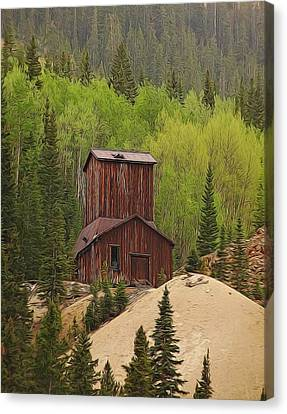 Mining Building In Colorado Canvas Print by Dan Sproul