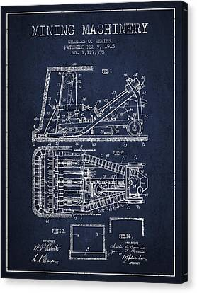 Mining Machinery Patent From 1915- Navy Blue Canvas Print by Aged Pixel