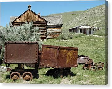 Mining Rail Cars Bannack Montana Canvas Print by Bruce Gourley