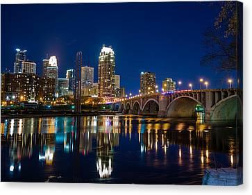 Minneapolis City Lights Canvas Print by Mark Goodman