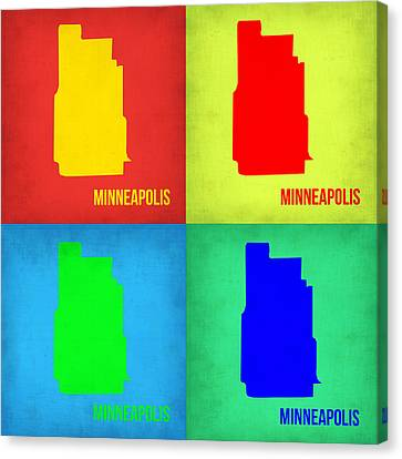 Minneapolis Pop Art Map 1 Canvas Print by Naxart Studio
