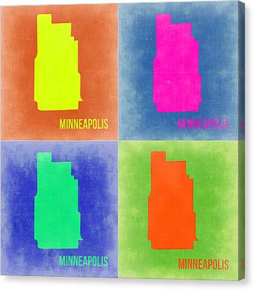 Minneapolis Pop Art Map 2 Canvas Print by Naxart Studio