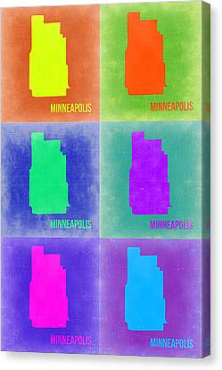 Minneapolis Pop Art Map 3 Canvas Print by Naxart Studio