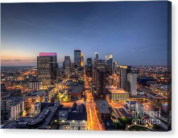 Minneapolis Skyline At Night Canvas Print by Wayne Moran