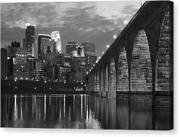 Minneapolis Stone Arch Bridge Bw Canvas Print by Wayne Moran