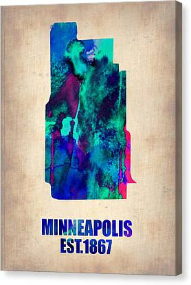 Minneapolis Watercolor Map Canvas Print by Naxart Studio