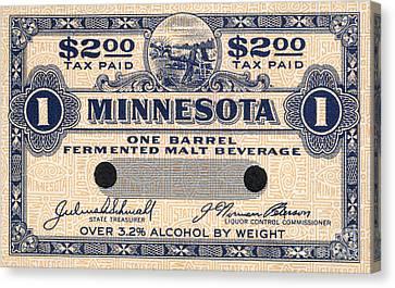 Minnesota Beer Tax Stamp Canvas Print