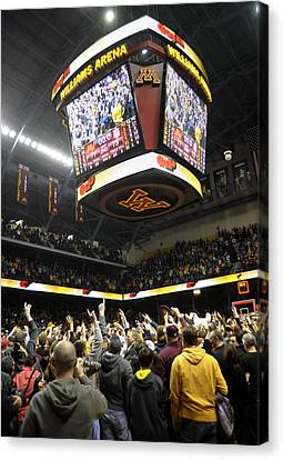 Minnesota Fans Celebrate Victory At Williams Arena Canvas Print by Replay Photos