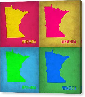 Minnesota Pop Art Map 1  Canvas Print by Naxart Studio