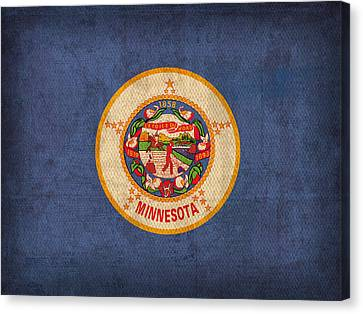 Minnesota State Flag Art On Worn Canvas Canvas Print by Design Turnpike