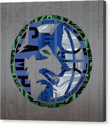 Minnesota Timberwolves Basketball Team Retro Logo Vintage Recycled Minnesota License Plate Art Canvas Print by Design Turnpike