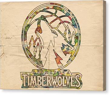 Minnesota Timberwolves Retro Poster Canvas Print by Florian Rodarte