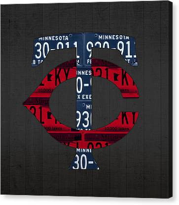 Minnesota Twins Baseball Team Vintage Logo Recycled License Plate Art Canvas Print by Design Turnpike